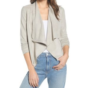 BLANKNYC Faux Suede Drape Front Jacket, Size Small